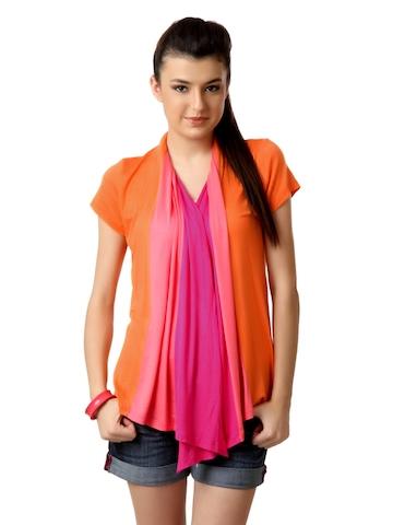Tonga Women Orange & Pink Shrug