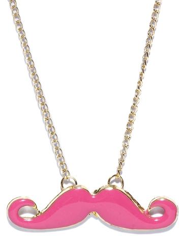 ToniQ Pink Moustache Charm Necklace