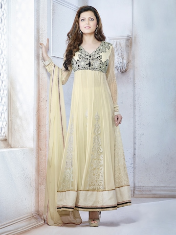 Touch Trends Cream-Coloured Georgette Unstitched Dress Material at myntra