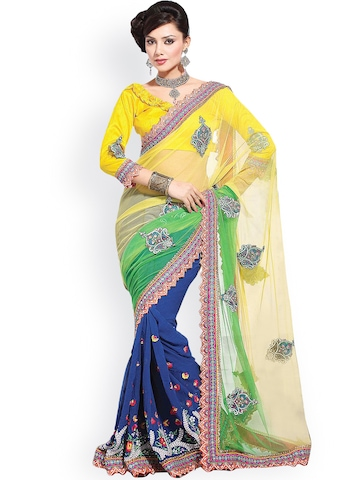 Triveni Yellow & Blue Embroidered Supernet Partywear Saree at myntra