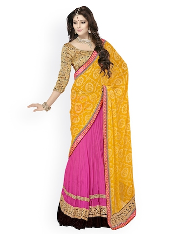 Triveni Yellow & Pink Georgette Lehenga Partywear Saree at myntra