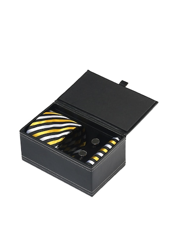 Turtle Men Formal Black Tie, Cufflink and Pocket Square Combo Set