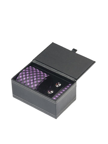 Turtle Men Formal Purple Tie, Cufflink and Pocket Square Combo Set
