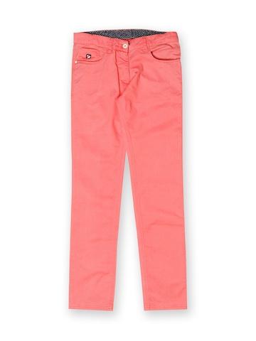 U.S. Polo Assn. Kids Girls Pink Trousers at myntra