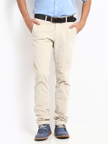 Buy U.S. Polo Assn. Men Cream Coloured Slim Fit Corduroy Trousers ...