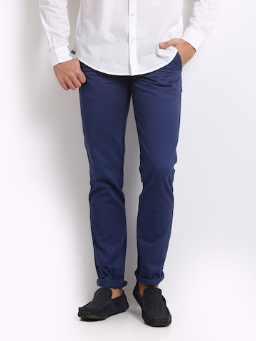 United Colors of Benetton Men Blue Slim Fit Trousers at myntra