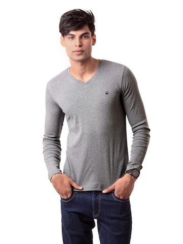 United Colors of Benetton Men Grey T-shirt