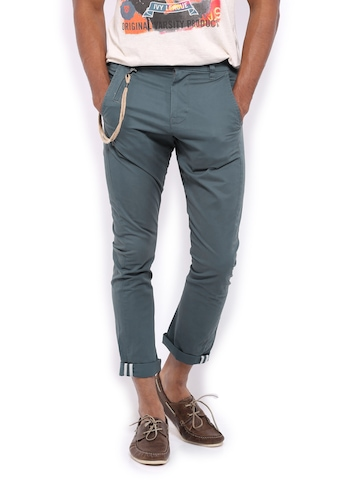 United Colors of Benetton Men Blue Carrot Fit Trousers available at