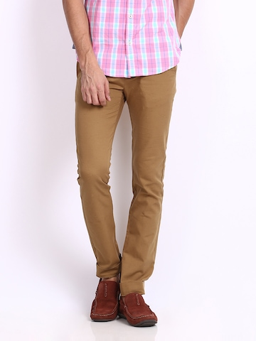 United Colors of Benetton Men Brown Slim Fit Casual Trousers at myntra