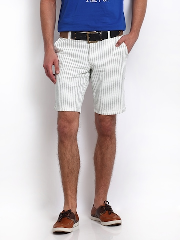 United Colors of Benetton Men White & Black Striped Shorts at myntra