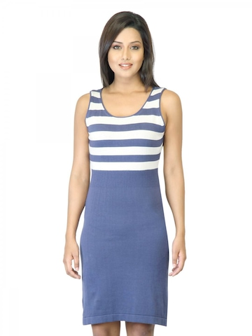United Colors of Benetton Women Blue Striped Dress