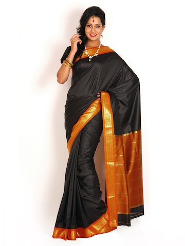Urban Vastra Black Art Silk Traditional Saree