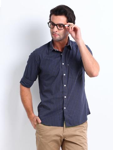 Van Heusen Sport Men Blue & Brown Checked Slim Fit Casual Shirt