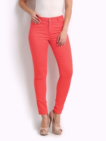 Vero Moda Women Coral Red Skinny Fit Jeggings at myntra