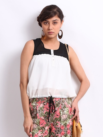 Vero Moda Women Off-White & Black Bluma Top at myntra