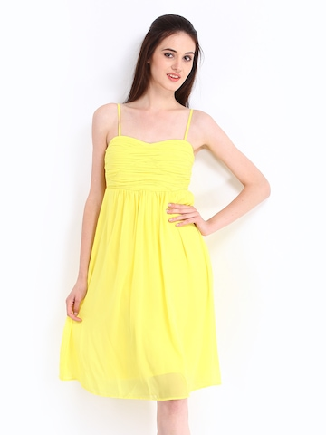 Vero Moda Yellow Fit & Flare Dress