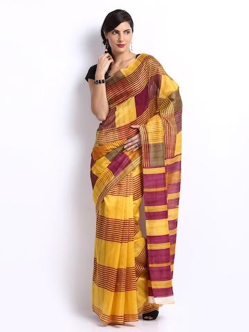 Vipul Yellow & Purple Mysore Art Silk Printed Saree