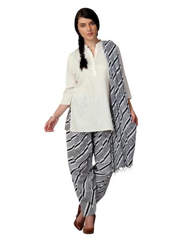 Vishudh Women Black & White Salwar and Dupatta