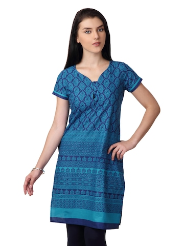 Vishudh Women Blue Printed Kurta