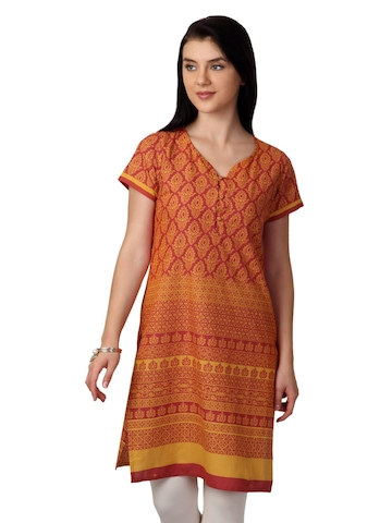 Vishudh Women Orange Printed  Kurta