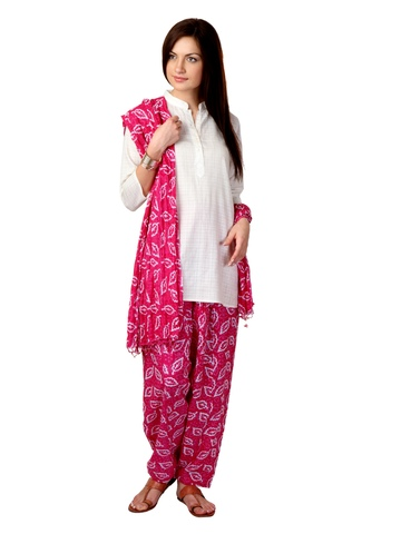 Vishudh Women Pink Salwar and Dupatta