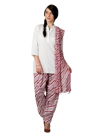 Vishudh Women Red & White Salwar and Dupatta