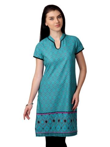 Vishudh Women Turquoise Blue Printed Kurta