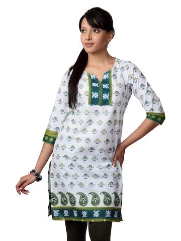 Vishudh Women White Printed Kurta