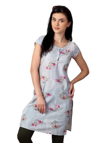 W Women Printed Grey Kurta