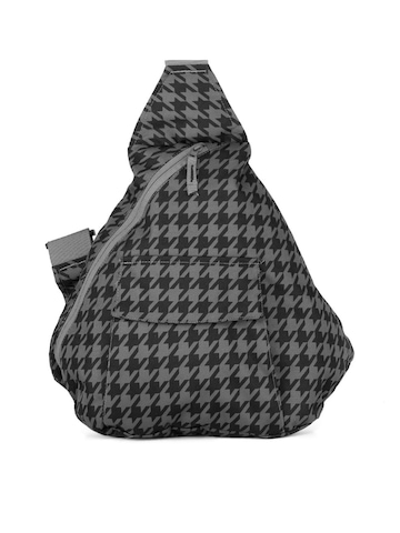 Wildcraft Unisex Black & Grey Houndstooth Crossbody Backpack
