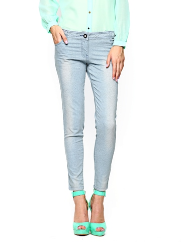 Wills Lifestyle Women Blue Printed Skinny Fit Jeans at myntra