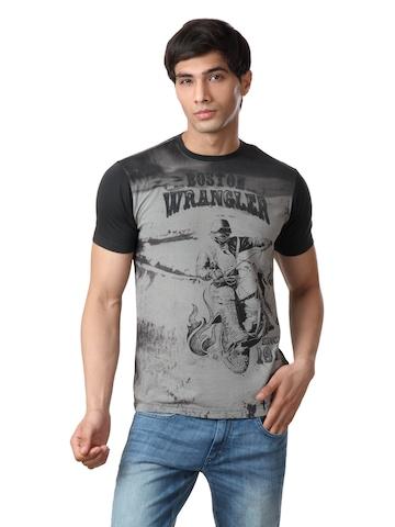 Wrangler Men Charcoal T-shirt