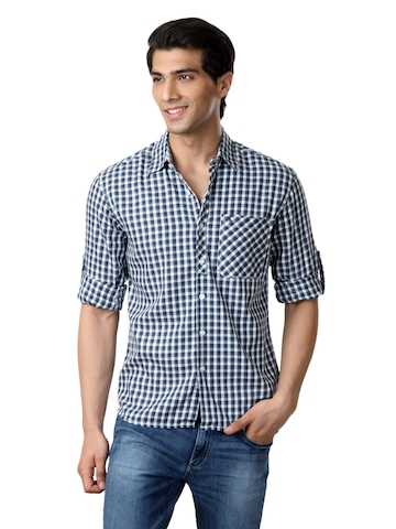 Wrangler Men Navy Blue & Green Check Shirt