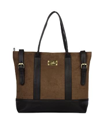 Yelloe Women Shoppers Fun Brown Handbag