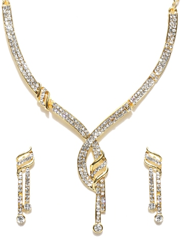 Zaveri Pearls Gold-Toned Jewellery Set at myntra