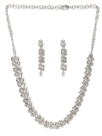 Zaveri Pearls Silver-Plated Jewellery Set at myntra
