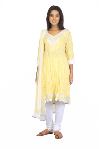 BIBA Women Printed Yellow Salwar Suit