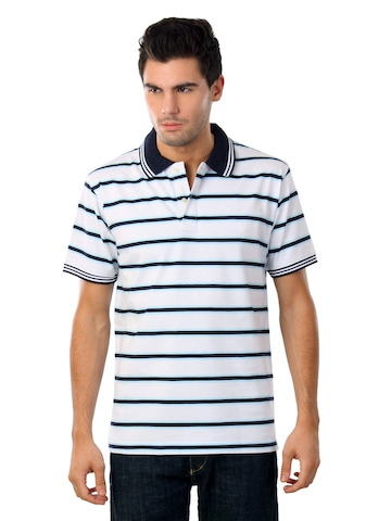 Scullers Men Striped White T-shirt