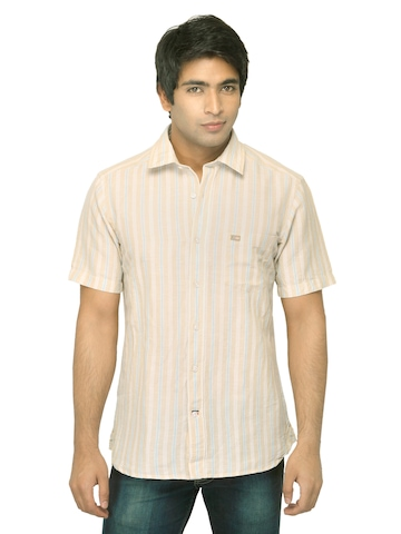 Arrow Sport Men Beige Striped Shirt