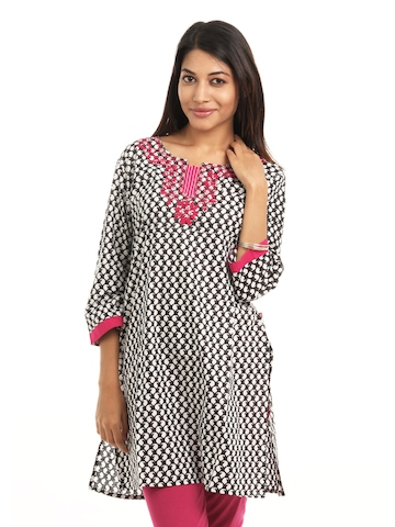 Shree Women Black & White Kurta