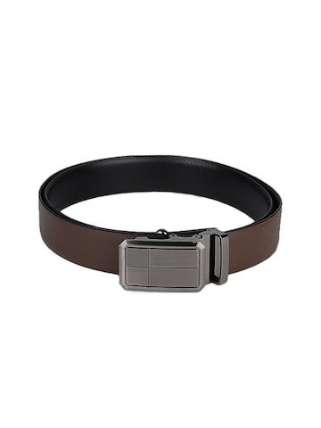 OTLS Men Brown & Black Reversible Leather Belt