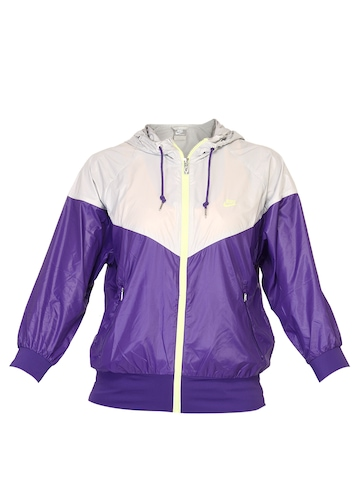 Nike Women Hooded Purple Jacket
