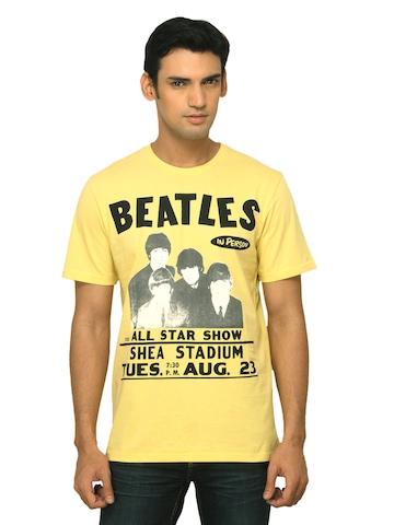 Music Men Printed Yellow T-shirt