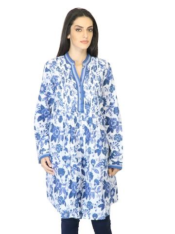 BIBA Women Printed Blue Kurta