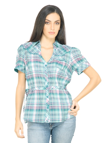 s.Oliver Women Green Check Shirt