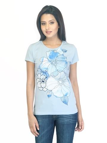 Wrangler Women Water Flower Blue T-shirt