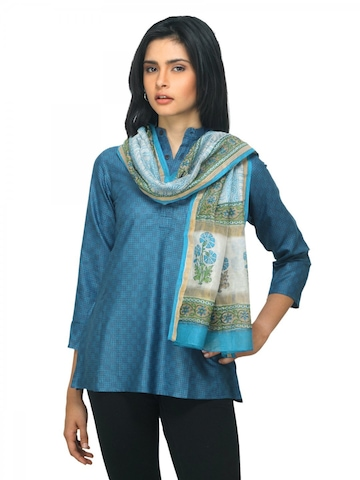 Fabindia Women Chanderi Blue Stole