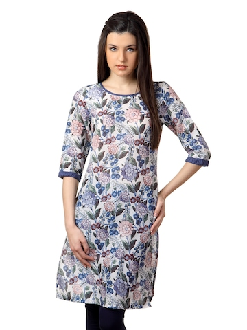 W Women Printed Blue Kurta