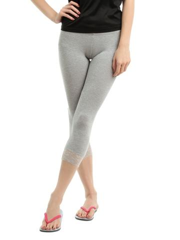Hanes Women Grey Comfortsoft Waistband Cotton - Stretch Lace Capri Leggings