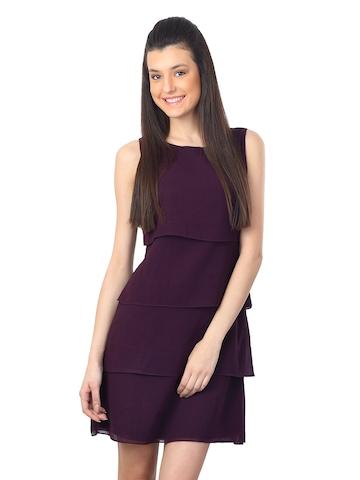 Femella Women Purple Tiered Dress